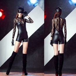 Wholesale Temptations Cat - Nightclubs uniform temptation appeal a kitten masked conjoined with patent leather lace stitching cat ladies dress jumpsuits