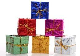 Wholesale Small Pendant Gift Boxes - 50set=12pc*50set Christmas Decoration Christmas Trees Pendant Small Square Box Christmas Gift Xmas Adornment Party Ornament FREE SHIPPING