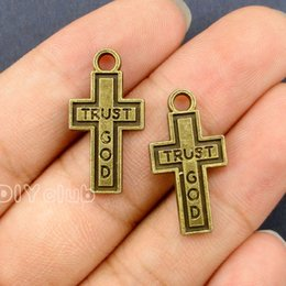 Wholesale Bronze Cross Pendants - 60pcs- Cross Charms, Antique Bronze Plated Trust God Cross Charms Pendant 24x13mm Best Gifts For Lovely Connector DIY Jewelry Making