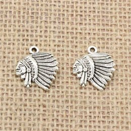 Wholesale Chief Pendant - Wholesale 80pcs Charms Tibetan Silver Antique Bronze Plated indian chief head 21*18mm Pendant for Jewelry DIY Hand Made Fitting