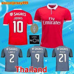 Wholesale Home Wearing - 17 18 Primeira Liga home red gray soccer Jerseys 2017 2018 LOPEZ SALVIO RAUL JIMENEZ JONAS Sporting portugal Wear Shirts football uniforms