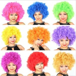 Wholesale Fun Halloween Costumes - Halloween disco curly wig Rainbow Afro wigs Clown Child Adult Costume Football Fan Wig Hair Fan Fun