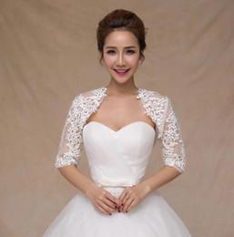 Wholesale Wedding Sheer Boleros - New Fashion Sheer Long Sleeve Lace Bridal Jackets for Wedding Ladies Jackets Bridal Accessories free shipping HT119