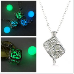 Wholesale Magic Tree Wholesale - Magic Cube Noctilucent Lockets Life Tree Hollow out Pattern Luminous Beads Square Pendants Necklaces for Sale Glow in Dark