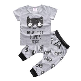 Wholesale Face Clothing - Hot style INS summer baby clothes infants clothing home baby cotton lion face Super hero short sleeve T-shirt pants 2pcs wholesale toddler