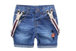 Wholesale Cute Jeans For Boys - Wholesale-Kids Children Summer Soldier Cute Jeans Shorts Garcon Enfant Cotton Overalls Short Boy Toddler Casual Pantalon For Boys