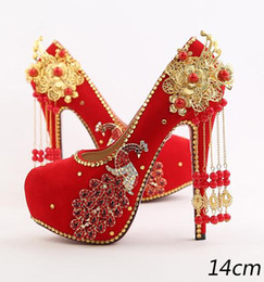 Wholesale Shoes For Bridesmaids - Red bride shoes high with wedding shoe waterproof single diamond phoenix wedding dress bridesmaid suede shoes for women's shoes