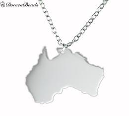 2019 encanto australia New Fashion 304 Stainless Steel Silhouette Australia Charm Necklace Link Cadena de Cable Tono Plata 44.5cm (17 4/8