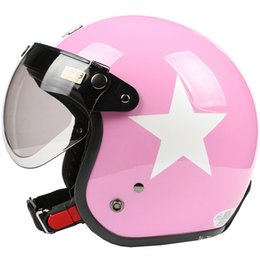 Wholesale Helmet Face Lens - HH#19 Taiwan S-Y-C Ultralight Motorcycle Helmet Open Face Casque Motorbike Moto Gloss Pink with White Star Casco & UV W Lens Summer Adult