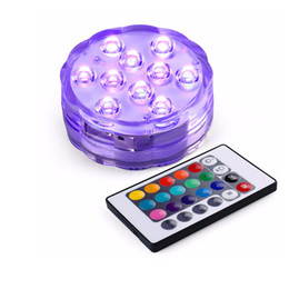 Wholesale Submersible Remote Lights For Vases - 10 SMD5050 LED Multi Color Submersible Waterproof Wedding Party Vase Base Light With 24 Keys Remote Control For Hookah Shisha