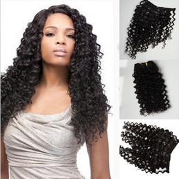 "Wholesale Virgin Hair Deep Wave Clips - Clip In Human Hair Extensions Mongolian Virgin Hair deep wave 8""-24"" 7Pcs 120G Clip In Hair 100% Virgin Human Weaves"