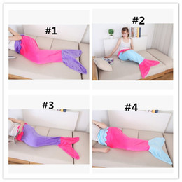 Wholesale Twin Beds For Kids - 5pc Mermaid Tail Blanket Throw Fish Tail Flannel sleeping bags for kids Adults Soft Sofa Bed Blanket
