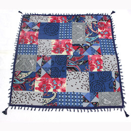 Wholesale Fashion Malaysia - Retro Malaysia classic printing paisley women winter square cotton tassels scarf ferminine shawls four sides tassels 6colors size 110x110cm