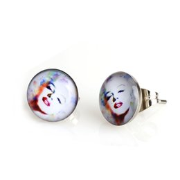 Wholesale Painting Earrings - Free Shipping 18 Pair 10mm White Painted Marilyn Monroe Stud Earrings, Lady Women Personalized Stainless Steel #30566