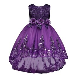 Wholesale Cute Flowers Embroidery - 2017 New Cheap Purple Girl's Pageant Dresses Cute Sequin Embroidery Princess Ball Gown Long Shining Flower Girl's Dresses MC0280