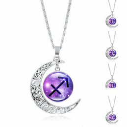 Wholesale Tin Signs Free Shipping - Fashion 12 Zodiac Signs Necklaces Retro Twelve Constellations Cabochon Glass Time Gem Moon Pendant Necklaces Free Shipping
