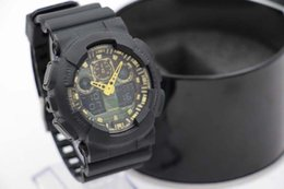 Wholesale New Digital Camouflage - high qualtiy free shipping Hot men's sports G watches, LED relogio Ga100 watch military camouflage watch, digital watches
