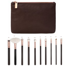 Wholesale Golden Rose Cosmetics - 15pcs set Rose Golden Complete Set Makeup Brushes with Leather Package Face&Eye Brushes Daily Cosmetics Brushes
