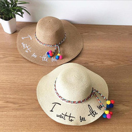 Wholesale Wide Brim Hat Women - Wholesale- Brand 2017 Letter Embroidery Cap Big Brim Ladies Summer Straw Hat Youth Hats For Women Shade Sunhat Beach Caps Leisure
