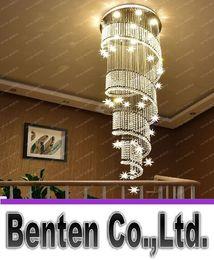 Wholesale Transparent Hanging Home Decor - Creative Design New Modern Crystal Light Chandelier For Stair Home Hall Decor Hanging Light Fixture LED Lustre Cristal Lamps LLFA