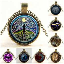 antikes bildglas Rabatt Halskette Anhänger Vintage Baumleben Baum Bild Glas Cabochons Antik Bronze Kette Halskette Modeschmuck Medaillon Kette Halsketten