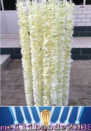 Wholesale Unique Wedding Photos - Unique Design Wedding Backdrop Decoration Orchid Flower Silk Wisteria Vine White Artificial Wreaths Shooting Photo Props NEW MYY