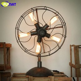 Wholesale Cafe Tables Living Room - FUMAT Iron Fan Table Lamps American Country Nordic Industrial Living Room Lamp Home Lighting Loft Table Light for Study Bar Cafe