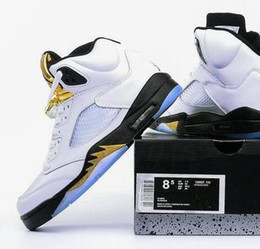Wholesale Retro Size 14 - Wholesale Olympic Retro 5 Gold Coin White Top qualiy Men size 8-14 136027 Free shipping Retro 5S basketball shoes sneaker