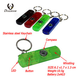 Wholesale Cheap Survival Tools - Wholesale Plastic cheap 6colorful 4in1 Outdoor Survival tool LED Compass Whistle Buckles Button Camping for Hiking Camping