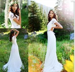 Wholesale Trumpet Sleeve Crochet Dress - Vintage Country Crochet Lace A-line Wedding Dresses with Beaded Belt 2017 Modest Cap Sleeve Bohemian Cheap Modest Bridal Dress