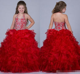 Wholesale Red Pagent Dresses - Fashion Ball Gown Flower Girl Dresses 2016 With Beads Organza Tutu Pagent Dresses Crew Back Floor Length Long Hand Made Gown so98
