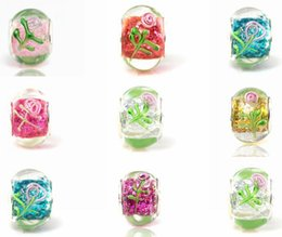 Wholesale Handmade Stamped Jewelry - 50pcs Lot mixed Beautiful Stamped Flower Glass Beads for Jewelry Making Loose Lampwork DIY Beads for Bracelet Wholesale in Bulk Low Price