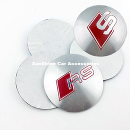 Wholesale Rs Emblem Metal - 56.5mm Car Wheel Center Emblems for Audi modified wheel cover car tire labeling center hole mark Sline RS metal decorative car stickers