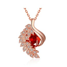 Wholesale Chain Link Inserts - New Fashion Zircon Insert Flower Pattern Pendant Necklaces Rose Gold Plated Jewely Women Necklaces