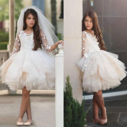 Wholesale pricess wedding dresses - 2018 New Short Tutu Skirt Flower Girl Dresses for Wedding 3 4 Long Sleeves Appliques Knee Length Pricess Lace First Communion Party Dresses