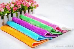 Toptan çift katmanlar 18 * 23 cm yüksek verimli anti yağlı bambu elyaf bulaşık bezi + promosyon bulaşık havlu 6 renk nereden bambu elyaf havluları toptan ticareti tedarikçiler