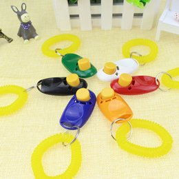 Wholesale Pet Dog Trainers - Pet Dog Training Click Clicker Agility Training Trainer Aid Wrist Lanyard Dog Training Obedience Supplies 6 Colors mixed free shipping