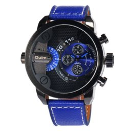 Wholesale Oulm Double - Oulm Men Watches Double Movt Numbers Strips Hours Marks Leather Band Quartz Watch Sports Male Luxury Watches reloj hombre