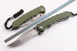 Cuchillo plegable 62hrc online-Nueva High-end OEM WildBoar D2 blade Flipper cuchillo plegable 62HRC G-10 Handle Wire drawing blade cuchillos tácticos de supervivencia con caja de regalo