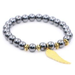 Wholesale Mens Hematite Bracelets - Magnetic Hematite Bracelet with Golden Wing Stretchable Band Bracelet for Women and Mens Pulseras Masculina