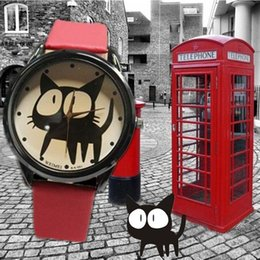 Wholesale Cat Watches For Women - 2018 luxury watch2015 New Fashion Cute watches Women and Children Favor black cat Cartoon watches Casual quartz wristWatches For You LOVERS