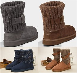 Wholesale Girls Shoes Boot - Wholesale Women WGG Australia Classic Boots girl triple black blue Brown Khaki boots Boot Snow Winter boots leather outdoor shoes size 35-40