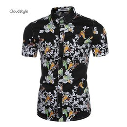 Wholesale New China Style Shirt - Wholesale-Summer New Fashion China Style Floral Printing Mens Shirt Crossfit Short Sleeves Shirts Brand Famous Luxury Camisa Masculina