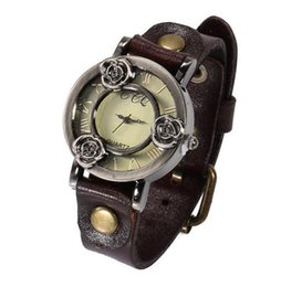 Wholesale Ladies Stainless Steel Skeleton Watch - free shipping Fashion Vintage Skeleton Rose Flower Watch Women Wristwatch Leather Strap Ladies Quartz Watch Clock Montre Femme Relojes Mujer