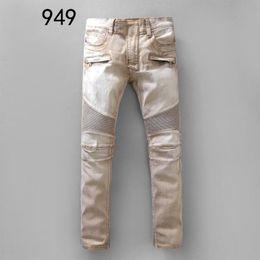 Wholesale European Runway - Top Fashion Biker Jeans Men Runway Biker Homme Jeanswear Skinny Slim Denim Trousers Cowboy Famous Brand Zipper Designer Men's Pants