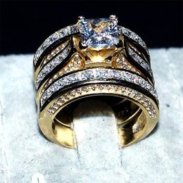 Wholesale Yellow Topaz Rings Women - Luxury Simulated Diamond Jewelry 14KT Yellow gold filled Wedding Ring finger For Women 3-in-1 20ct 7*7mm Princess-cut Topaz Gemstone Rings