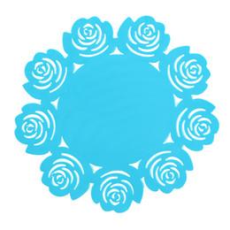 Posavasos redondos de silicona posavasos de rosas lindos Estera de la Copa Bebida para el hogar Mantelería de mesa Posavasos Azul Envío Gratis desde fabricantes