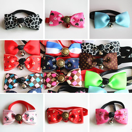 Wholesale Large Dog Bow Tie - Pet Dog Neck Tie Cat Dogs Bow Ties Bells Headdress Adjustable Dog Collars Leashes Apparel Pet decoration IB239