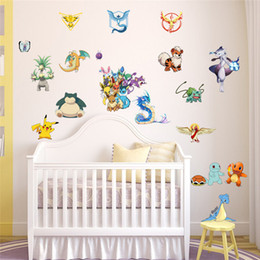 Wholesale Cartoon Dog Wall Decals - Pocket Monster Poke Wall Sticker for Kids Room Home Decoration Pikachu Wall Decal Amination Poster DIY Game Cartoon Wallpaper