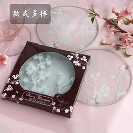 Wholesale cherry plum blossom - Glass Clear Pad Cherry Blossom Plum Magpie Round Cup Coaster Kitchen Bar Tableware Mat Delicate Gifts 1 2ab F R